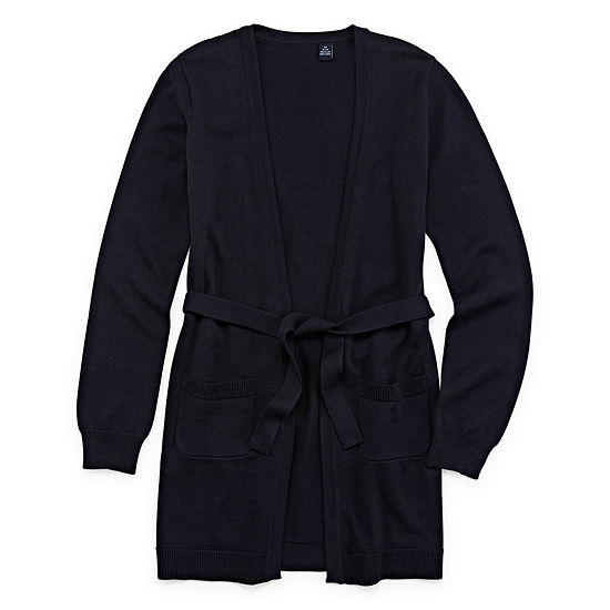 Izod Exclusive Girls V Neck Long Sleeve Tie Cardigan