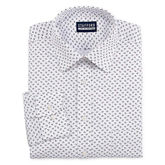 Stafford Mens Point Collar Long Sleeve Stretch Cooling Moisture Wicking Dress Shirt