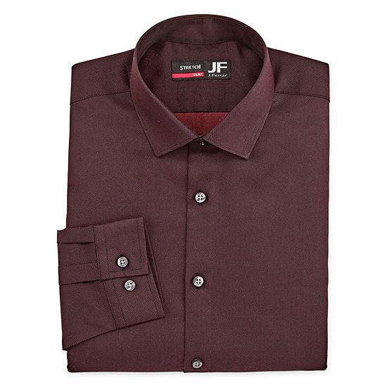 JF J.Ferrar - Slim Mens Point Collar Long Sleeve Stretch Cooling Dress Shirt