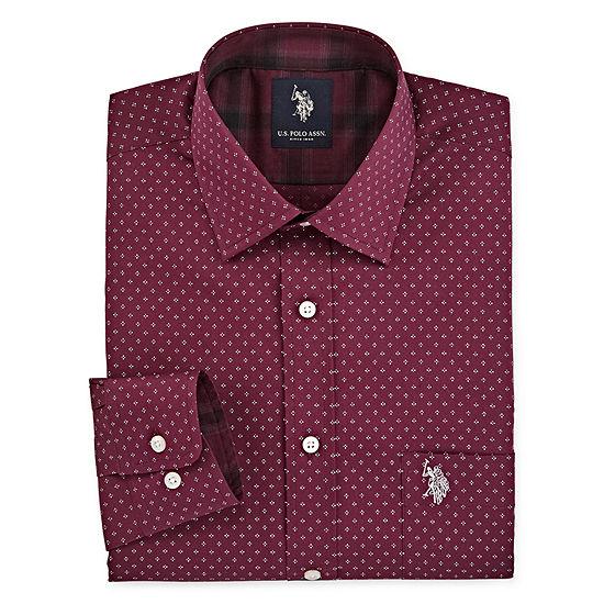 U.S. Polo Assn. - Slim Mens Spread Collar Long Sleeve Stretch Dress Shirt