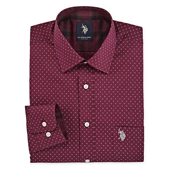 U.S. Polo Assn. Mens Spread Collar Long Sleeve Stretch Dress Shirt
