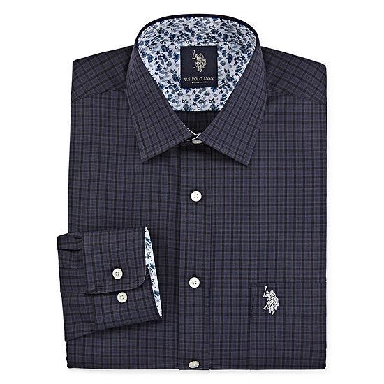 U.S. Polo Assn. Mens Spread Collar Big and Tall Long Sleeve Stretch Dress Shirt