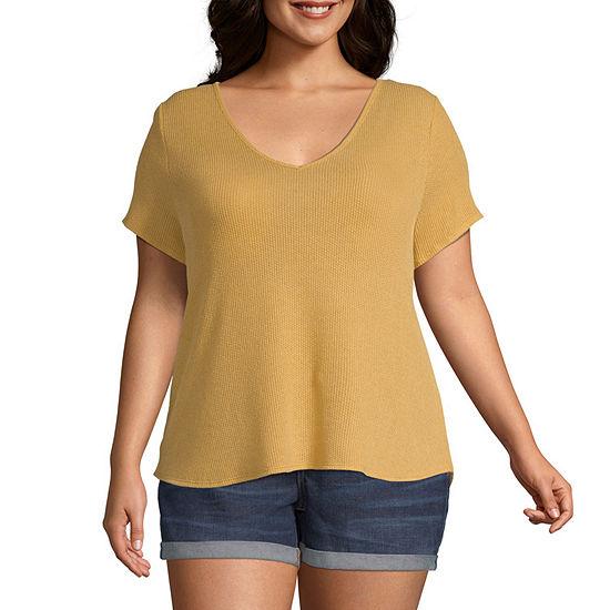 Arizona-Womens V Neck Short Sleeve T-Shirt Juniors Plus