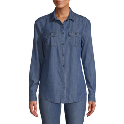 St. John's Bay Womens Long Sleeve Button-Front Shirt