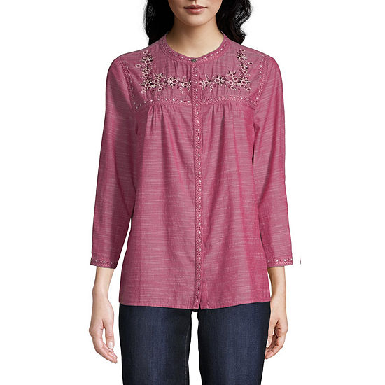 St. John's Bay Womens Round Neck 3/4 Sleeve Chambray Embroidered Blouse
