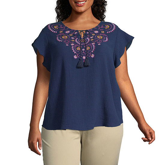 St. John's Bay Womens Split Crew Neck Short Sleeve Embroidered Blouse-Plus