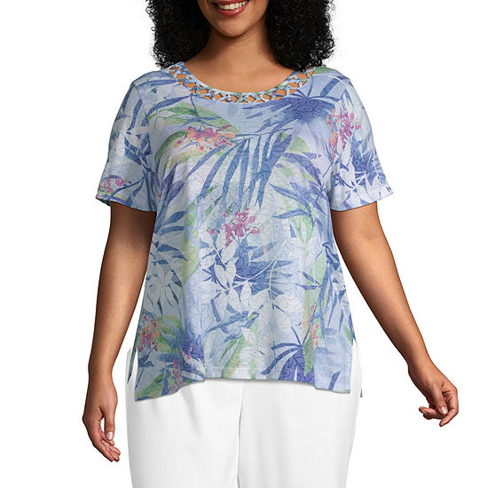 Summer Wind Alfred Dunner Tropical Leaves Top - Plus