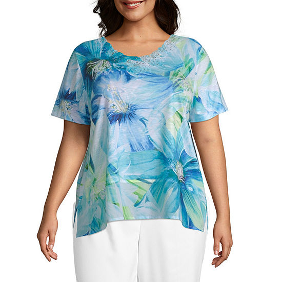 Waikiki Alfred Dunner Exploded Floral Top Plus
