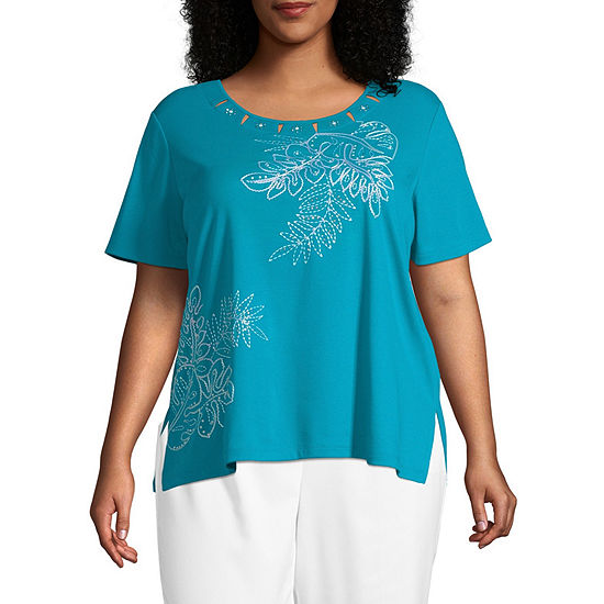 Waikiki Alfred Dunner Palm Leaf Embroidery Top - Plus