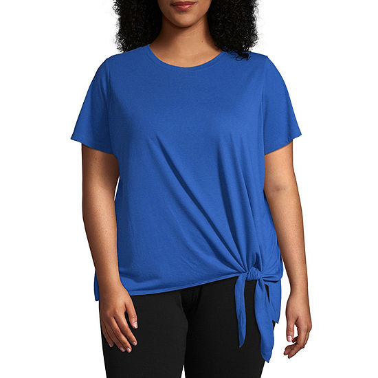 Xersion-Womens Round Neck Short Sleeve T-Shirt Plus