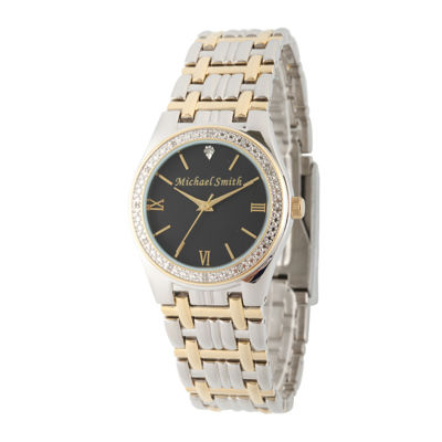 Personalized Dial Mens Diamond-Accent Two-Tone Watch