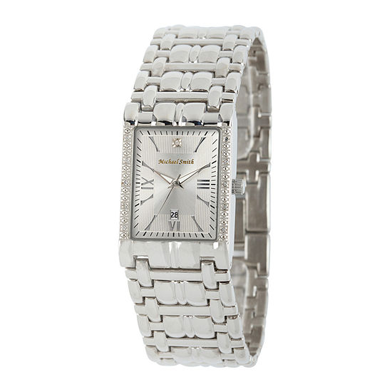 Personalized Dial Mens Diamond-Accent Square Silver-Tone Watch
