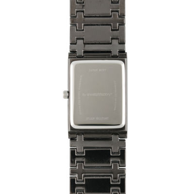 Personalized Dial Mens Diamond-Accent Square Black Watch