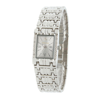 Personalized Dial Womens Diamond-Accent Square Silver-Tone Bracelet Watch