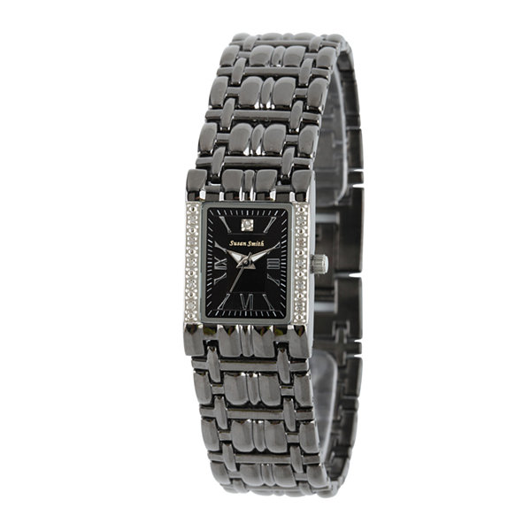 Personalized Dial Womens Diamond-Accent Square Black Bracelet Watch