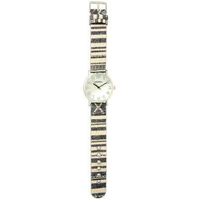 Olivia Pratt Womens Silver-Tone Faux Mop Dial Black-White Patterned Fabric Strap Watch 10352Tr