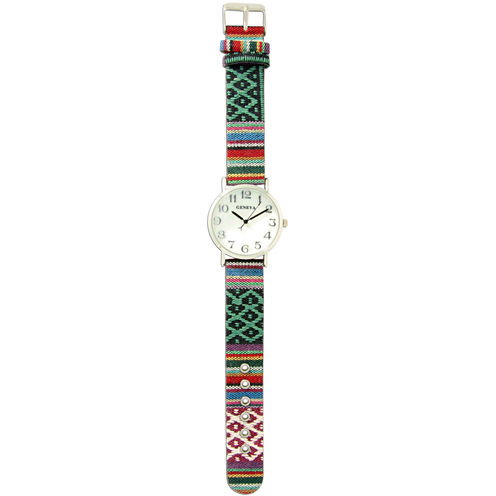 Olivia Pratt Womens Silver-Tone Faux Mop Dial Teal-White Patterned Fabric Strap Watch 10352Tr