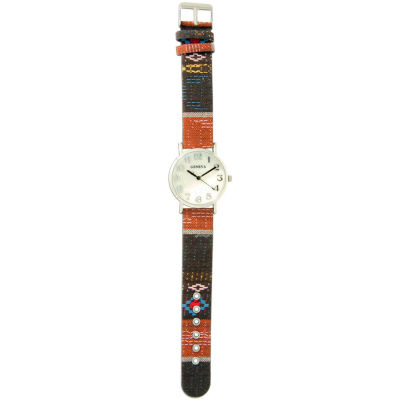Olivia Pratt Womens Silver-Tone Faux Mop Dial Orange-Brown Patterned Fabric Strap Watch 10352Tr