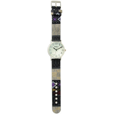 Olivia Pratt Womens Silver-Tone Faux Mop Dial Black-Grey Patterned Fabric Strap Watch 10352Tr