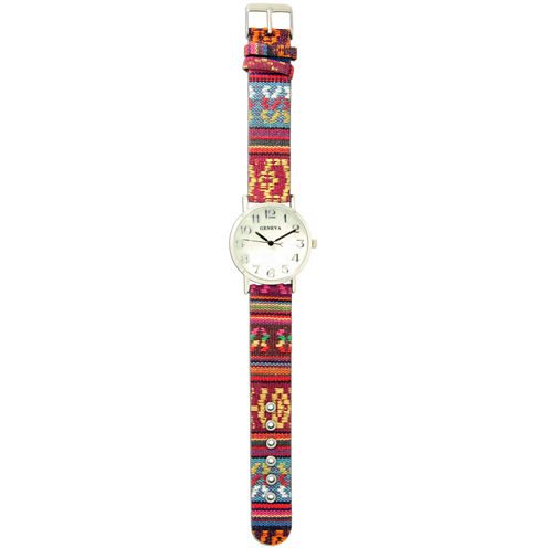 Olivia Pratt Womens Silver-Tone Faux Mop Dial Red-Yellow Patterned Fabric Strap Watch 10352Tr