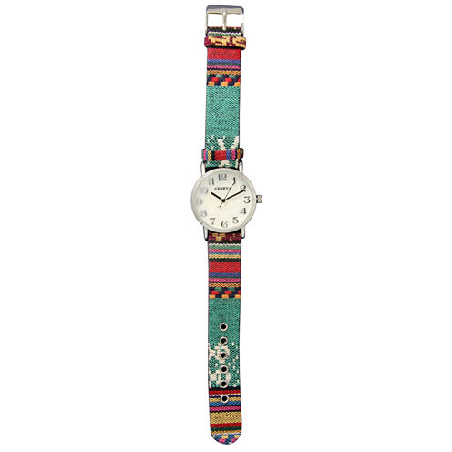 Olivia Pratt Womens Silver-Tone Faux Mop Dial Teal-Red Patterned Fabric Strap Watch 10352Tr