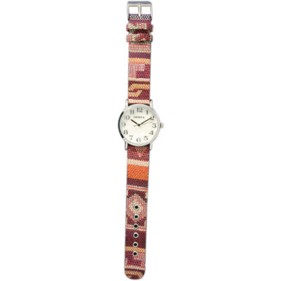 Olivia Pratt Womens Silver-Tone Faux Mop Dial Orange-Maroon Patterned Fabric Strap Watch 10352Tr