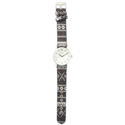 Olivia Pratt Womens Silver-Tone Faux Mop Dial Grey-White Patterned Fabric Strap Watch 10352Tr