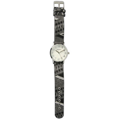 Olivia Pratt Womens Silver-Tone Faux Mop Dial Grey-Black Patterned Fabric Strap Watch 10352Tr