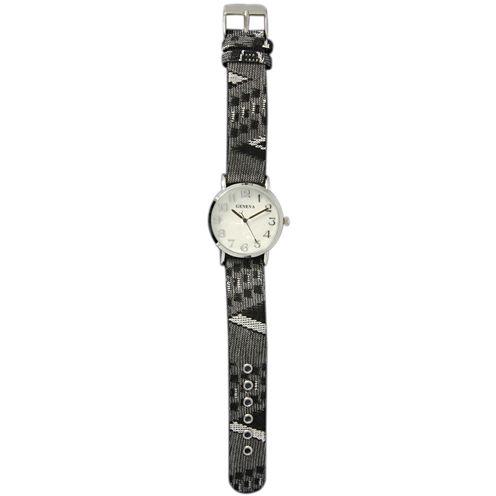 Olivia Pratt Womens Silver-Tone Faux Mop Dial Grey-Black Patterned Fabric Strap Watch 10352Tr