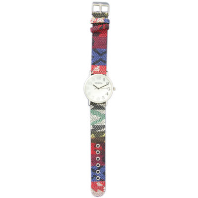 Olivia Pratt Womens Silver-Tone Faux Mop Dial Blue-Red Patterned Fabric Strap Watch 10352Tr