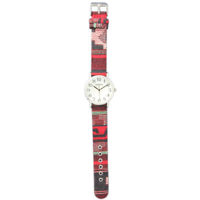 Olivia Pratt Womens Silver-Tone Faux Mop Dial Red-Grey Patterned Fabric Strap Watch 10352Tr