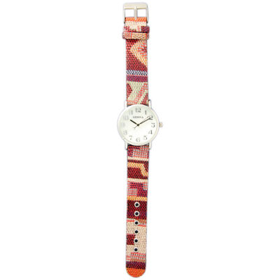 Olivia Pratt Womens Silver-Tone Faux Mop Dial Red-Orange Patterned Fabric Strap Watch 10352Tr