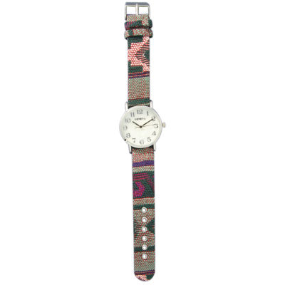 Olivia Pratt Womens Silver-Tone Faux Mop Dial Green-Pink Patterned Fabric Strap Watch 10352Tr