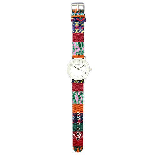 Olivia Pratt Womens Silver-Tone Faux Mop Dial Fabric Strap Watch