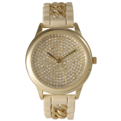 Olivia Pratt Womens Gold-Tone Rhinestone Watch