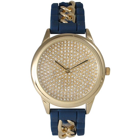 Olivia Pratt Womens Gold-Tone Rhinestone Dial Navy Silicone Band With Chainlink Accents Watch 8213