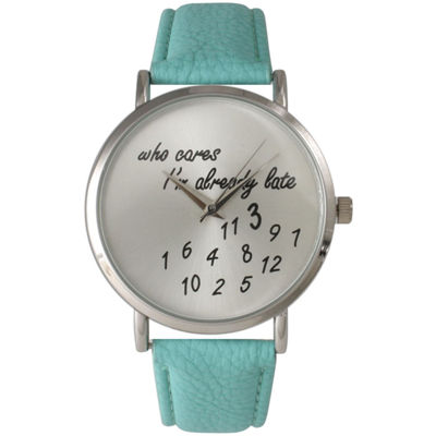 Olivia Pratt Womens Silver-Tone Aqua Leather Strap Watch 13569