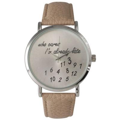 Olivia Pratt Womens Silver-Tone Beige Leather Strap Watch 13569