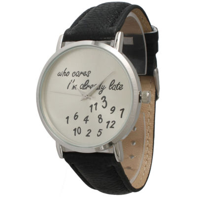 Olivia Pratt Womens Silver-Tone Black Leather Strap Watch 13569