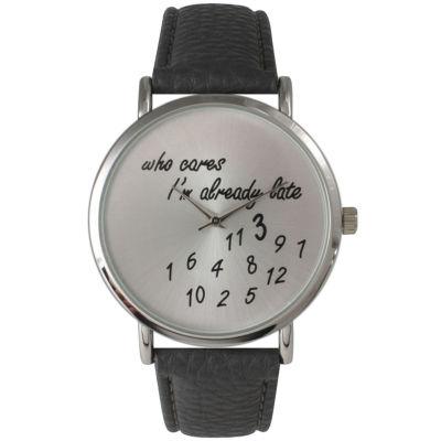 Olivia Pratt Womens Silver-Tone Dark Grey Leather Strap Watch 13569