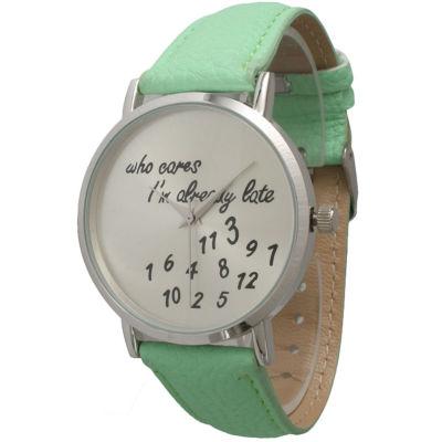 Olivia Pratt Womens Silver-Tone Green Mint Leather Strap Watch 13569