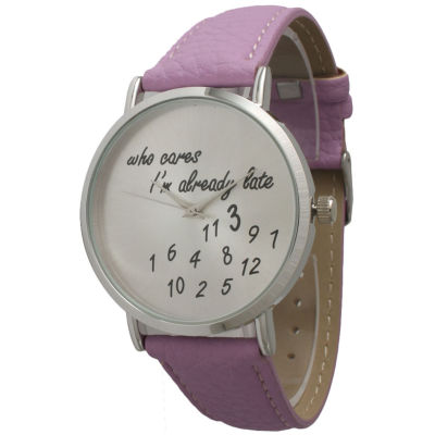 Olivia Pratt Womens Silver-Tone Lavender Leather Strap Watch 13569
