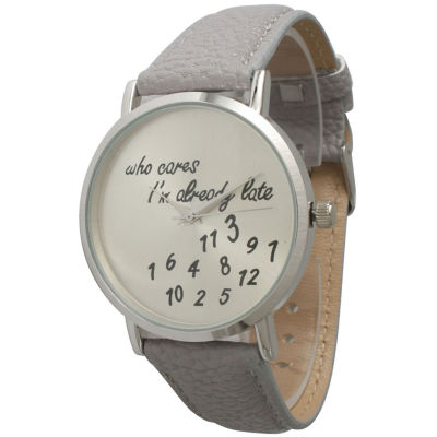 Olivia Pratt Womens Silver-Tone Light Grey Leather Strap Watch 13569