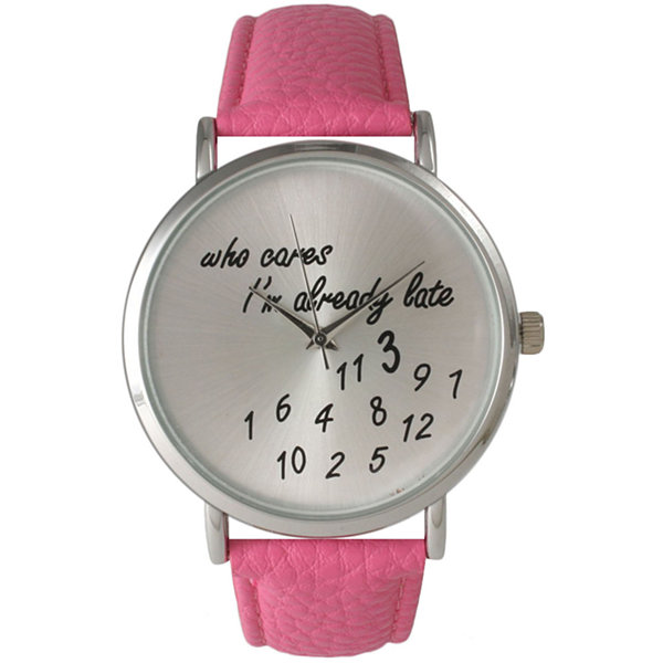 Olivia Pratt Womens Silver-Tone Light Pink Leather Strap Watch 13569