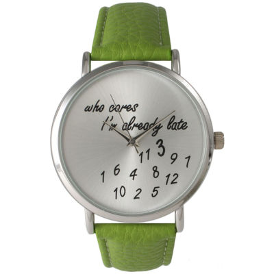 Olivia Pratt Womens Silver-Tone Lime Leather Strap Watch 13569