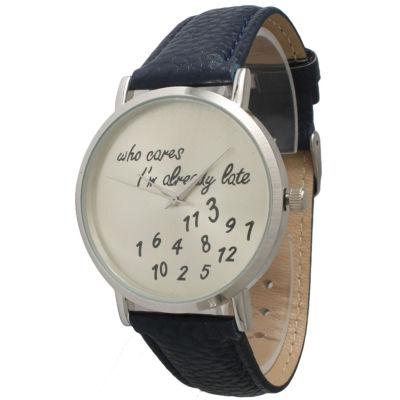 Olivia Pratt Womens Silver-Tone Navy Leather Strap Watch 13569