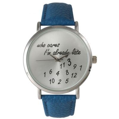 Olivia Pratt Womens Silver-Tone Royal Blue Leather Strap Watch 13569
