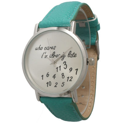 Olivia Pratt Womens Silver-Tone Mint Leather Strap Watch 13569