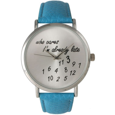 Olivia Pratt Womens Silver-Tone Turquoise Leather Strap Watch 13569