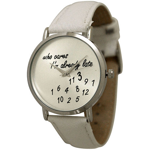 Olivia Pratt Womens Silver-Tone with White Leather Strap Watch  13569